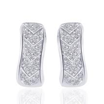 0.35 Carat Round Cut Carat Diamond J-Hoop Earrings 14K White Gold - $375.21