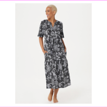 Stan Herman Stamped Floral Cotton Gown, Black, XS - $12.10