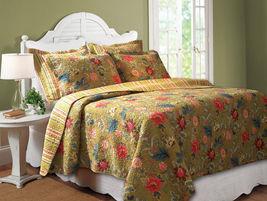 Floral Jewel  Reversable Quilt Bedspread Throw Sham King Full/Queen Tw - $24.73+