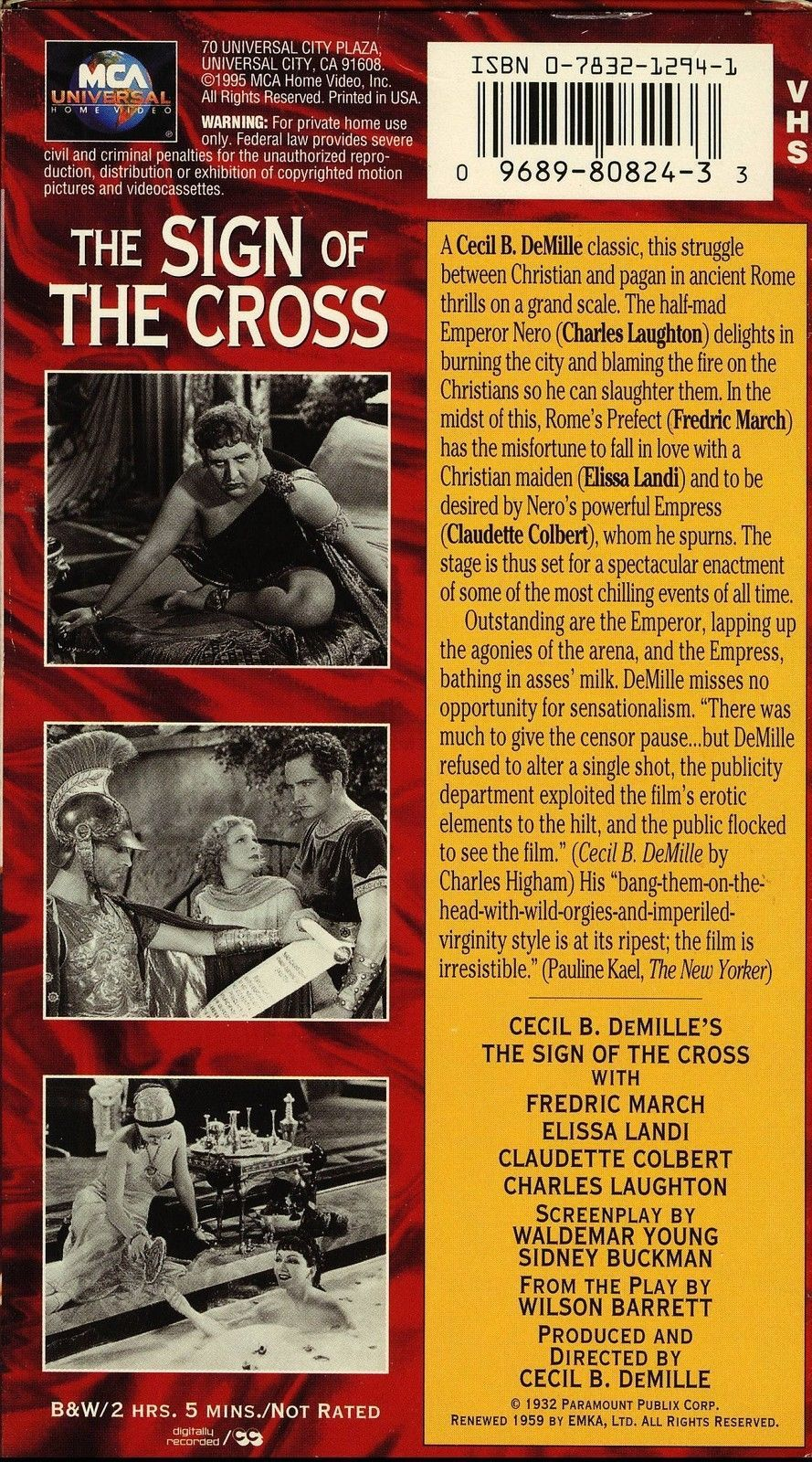 Sign Of The Cross Claudette Colbert 1932 Vhs and 17 similar