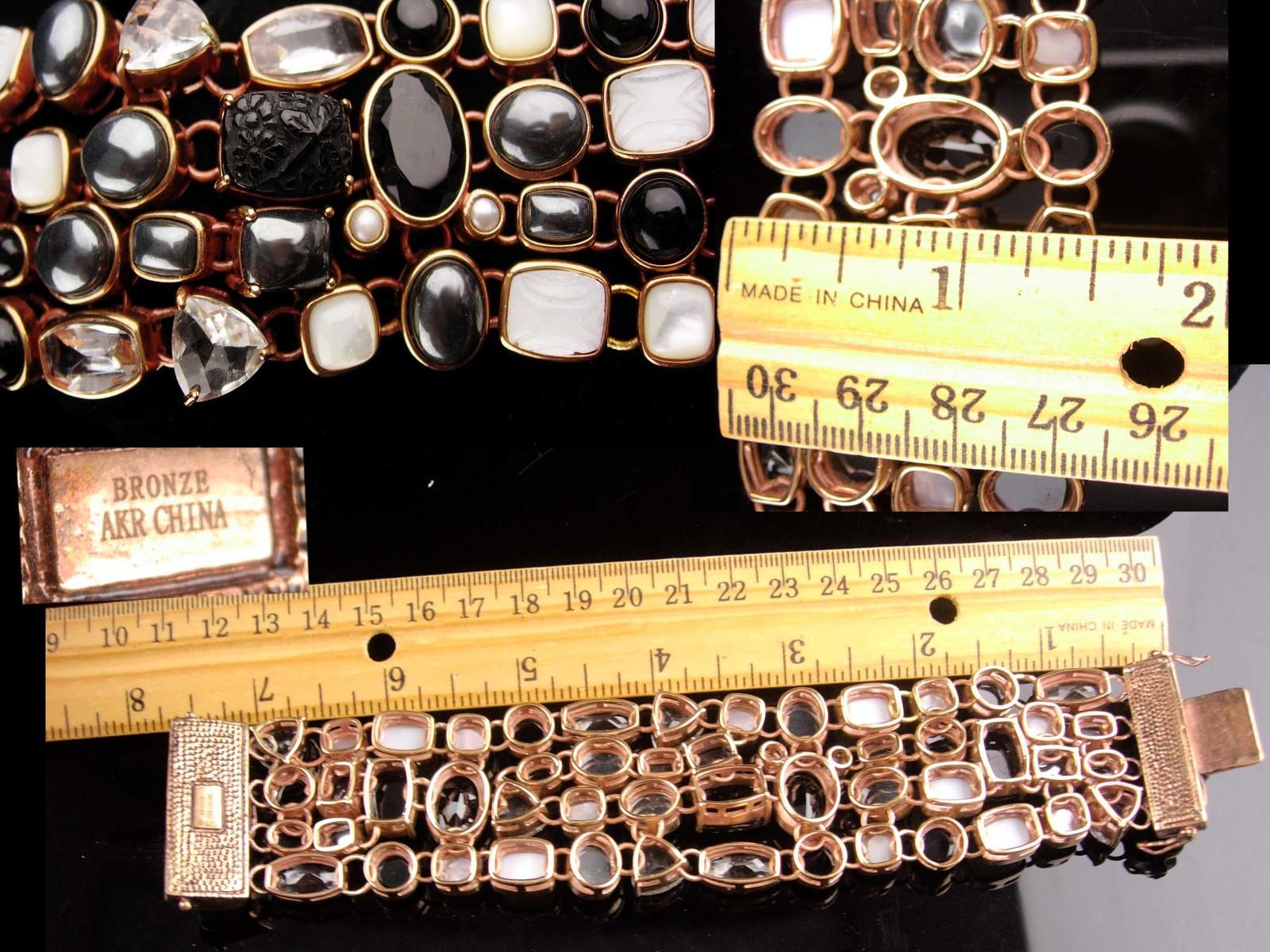 Amy Kahn Bracelet - carved black onyx - Pearl - Hematite - bronze cluster wide b image 8