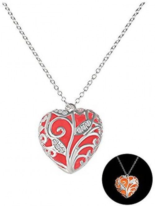 Durcoo Luminous Heart Pendant Necklace Tree Of Life Glow In The Dark Red Jewelry