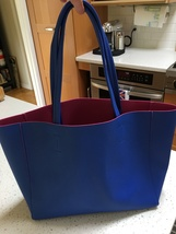 Beautiful Bright Blue Vegan Leather/Neoprene Large Tote from Macy's NWT