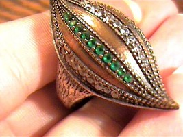 VINTAGE STERLING 925  RING 7.5  emerald sapphire accents  SILVER RING ME... - £55.16 GBP