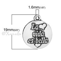 Life Is Beautiful Wholesale Spanish Message Charms C5232 - 10, 20 Or 50PCs - $12.00+