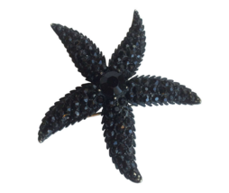 60s Weiss Signed Black Jet Faceted Rhinestone Starfish Mourning Brooch L... - $75.00