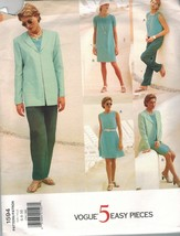 1594 sin Cortar Vogue Costura Patrón Misses Vestido Chaqueta Falda Panta... - $6.23+