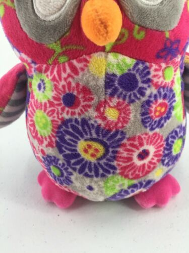 """Mary Meyer Plush Owl Purple Pink Floral Flowers Stuffed Toy 7"""" Tall image 3"""