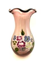 "Fenton Teleflora Amethyst Purple Vase Hand Painted Floral Art Glass 8"" T... - $28.71"