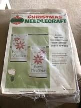 Started Bucilla Pair Linen Seasons Greetings Cross Stitch Guest Towels Kit 88366 - $21.78