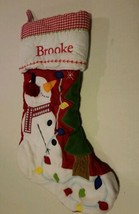 Pottery Barn Christmas Stocking Brooke ginghamSnowman Tree Lights - $19.79