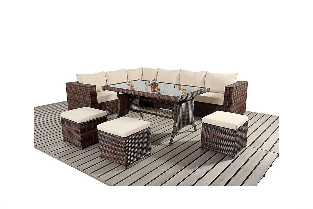 Garden Sofa Dining Table Set Outdoor Patio Contemporary 9 Seat Black - Mix Brown image 1