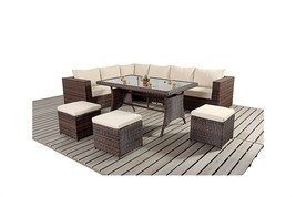 Garden Sofa Dining Table Set Outdoor Patio Contemporary 9 Seat Black - M... - $728.40