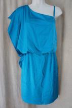 Jessica Simpson Dress Sz 10 Enamel Blue One Shoulder Ruffle Cocktail Par... - £28.16 GBP
