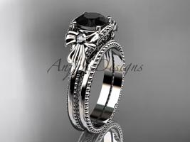 Black Diamond wedding set platinum bow engagement ring ADLR376S - $2,325.00