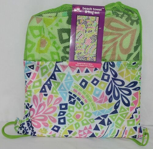 Three Cheers for Girls Brand 4754 Green Color Beach Towel Bag Set