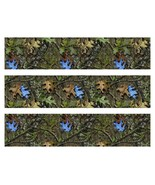 Mossy Oak Camo with blue leaves edible cake strips cake topper decorations - $7.80