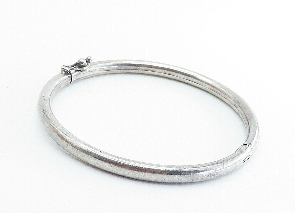 925 Sterling Silver - Vintage Smooth Shiny Hinged Bangle Bracelet - B6046