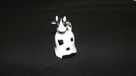 Ceramic Black and White cute adorable Cow Bell Figurine Bell - $11.40