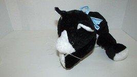 Mary Meyer flip flops black white tuxedo cat floppy bean bag plush blue bow - $10.68