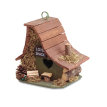 Birdhouse: Rustic Love Shack Hanging Wood Cabin Bird House with Clean Ou... - ₹1,406.76 INR
