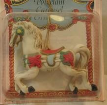 VINTAGE PORCELAIN CAROUSEL HORSE CHRISTMAS HANGING  ORNAMENT  - $17.82