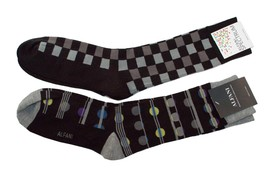 Alfani Men's Socks 2-Pair Value Pack Black and Gray with Checks and Dots... - $6.38