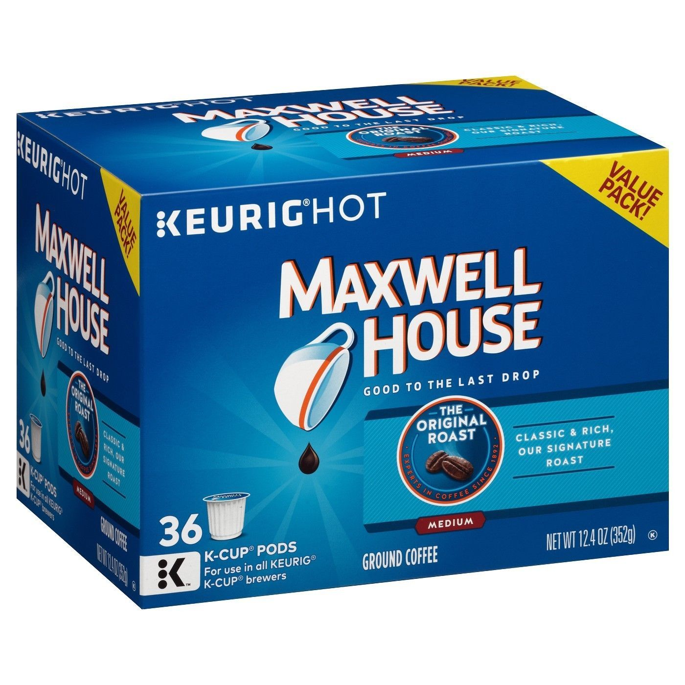 Primary image for Maxwell House Original Roast Coffee 18 to 144 K cup Pick Any Size FREE SHIPPING