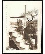 Man and His Dog Sitting Together on Steps Timeless Capture Antique Photograph - £9.39 GBP