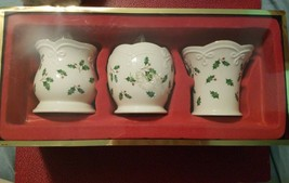 New! Lenox Holiday Dimension Holly 3 Pc Votive Candle Holders - $15.21