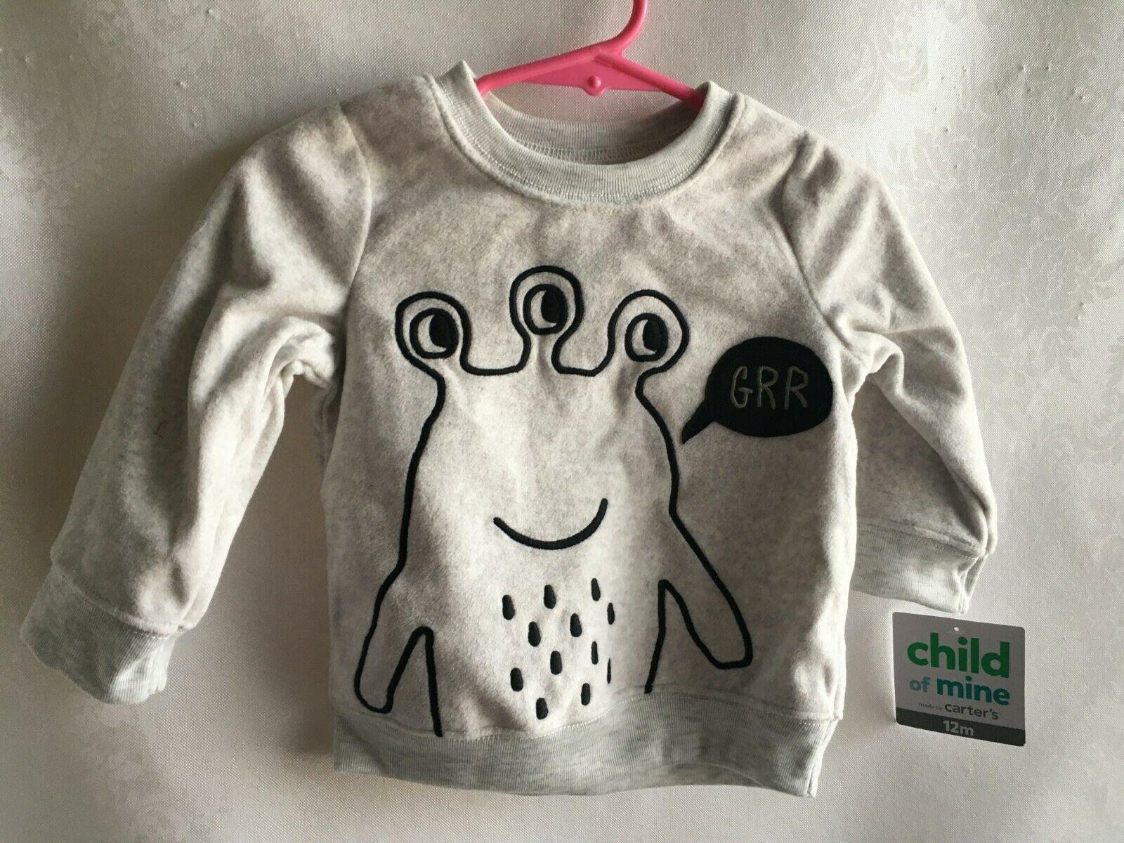 Infant Baby Boy/Girl Top 12 Months Animal Gray Black Soft Fuzzy Warm New w/Tags - $8.66