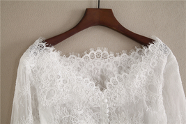 White Off Shoulder Long Sleeve Floral Lace Top Wedding Bridesmaid Lace Crop Tops image 2