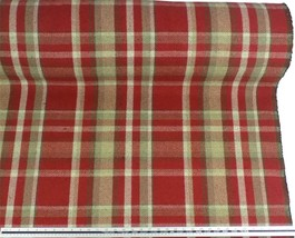 Tartan Check Wool Look and Feel Red Beige Upholstery Fabric Material *3 ... - $2.98+
