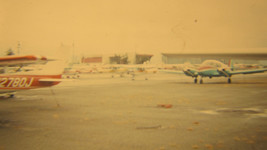 Vintage photo slide Small airplanes on apron 1976 Original Kodachrome 35mm - $5.90