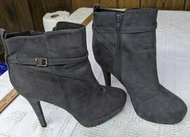 H&M Women's Sz 39 US 8 Gray Suede High Heel Boots 724200 - $19.69