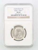1927-R Italie 10 Lire Pièce Argent Dalle MS-62 Fert Bord NGC Classé Mint... - $295.13