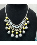 Avon Silver Tone Choker With Faceted Gray And Yellow Beads Also Luminesc... - $18.99