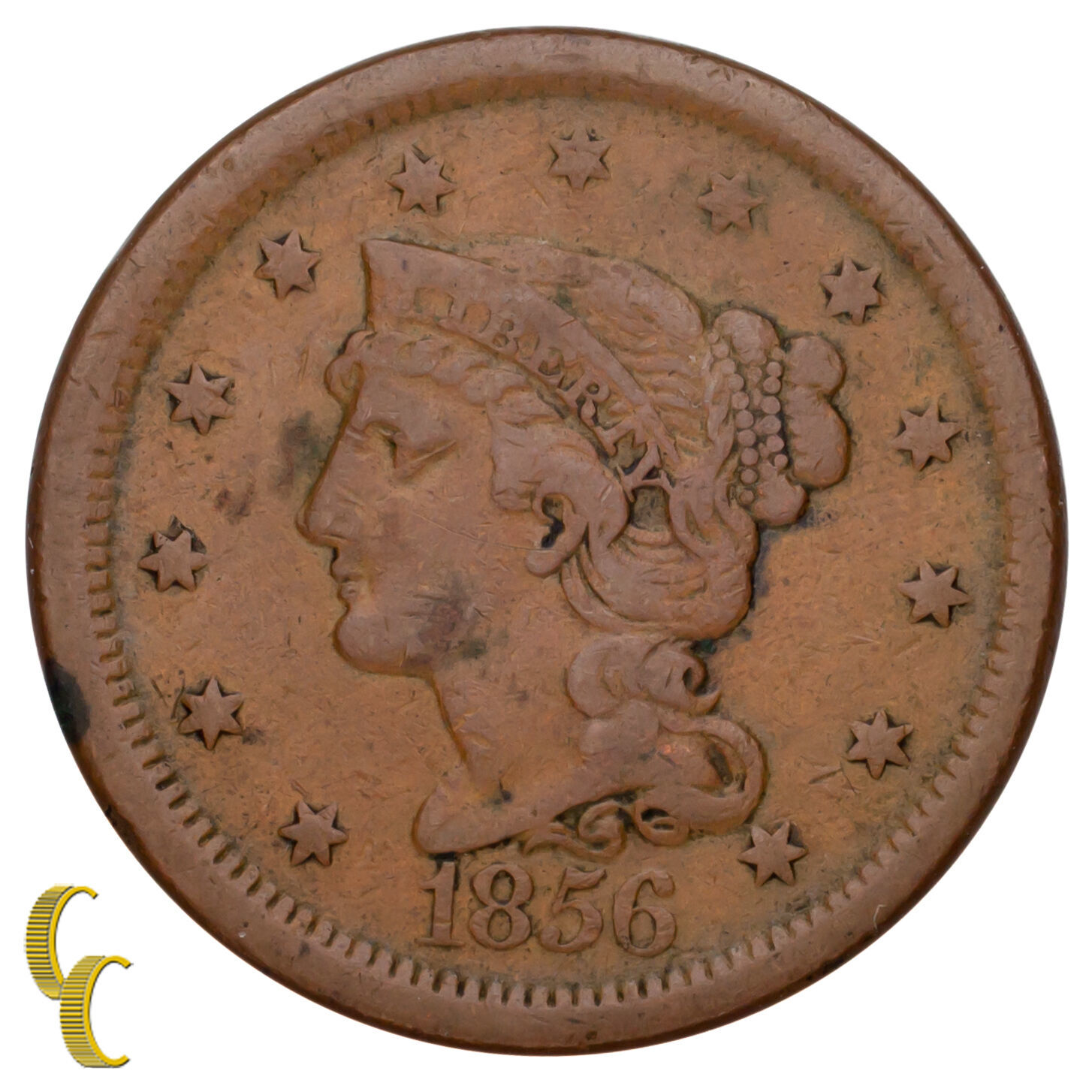 1856 Tressé Cheveux Large Cent 1C Penny Vertical (5 Fine, F Condition)