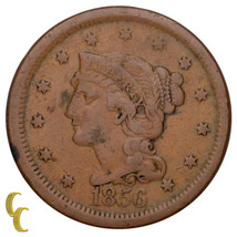 1856 Tressé Cheveux Large Cent 1C Penny Vertical (5 Fine, F Condition) image 1