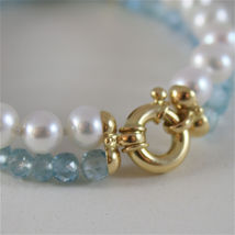 18K YELLOW GOLD BRACELET WITH 2 STRANDS PEARLS AND AQUAMARINE 7 IN MADE IN ITALY image 4