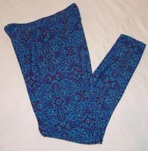 Lularoe One Size OS Womens Leggings Blue Red Geometric Print - $27.92