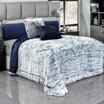 DEEP BLUE PLATINUM SOFT FLANNEL BLANKET WITH FAUX FUR AND THICK WADDING ... - $89.10