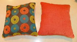 Pair of Orange Blue Circle Abstract Print Throw Pillows  10 x 10 - $29.95