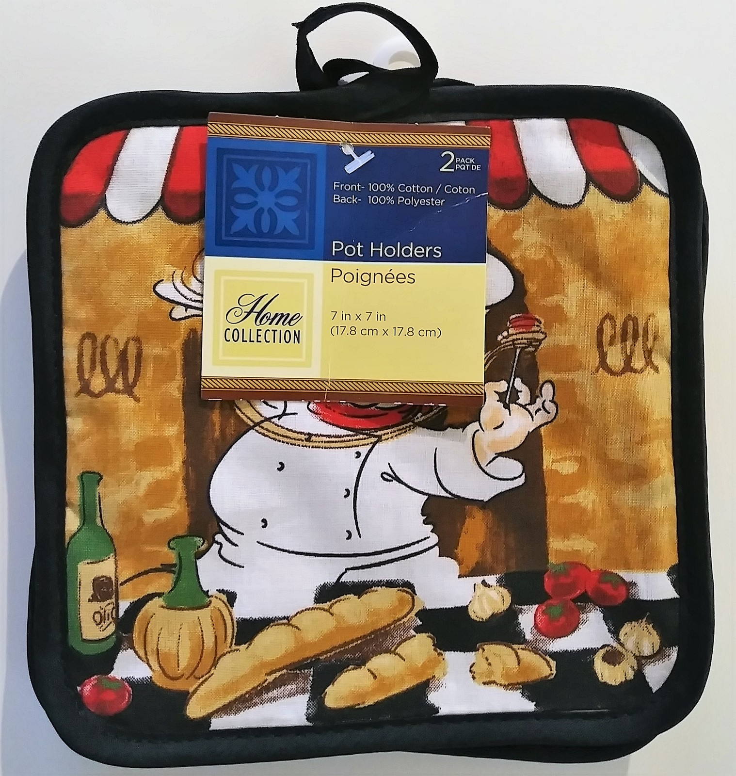 FAT CHEF KITCHEN LINEN SET 9pc Placemats Towels Mitt Potholders Cook Black