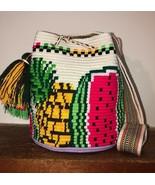 Authentic 100% Wayuu Mochila Colombian Bag Medium Sz Pineapple Watermelo... - £49.71 GBP