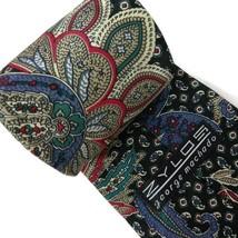 Zylos George Machado Mens Necktie Silk Paisley Black, Red Multi Color image 2