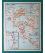 GREECE Corfu Island & City Town Plan & Environs - 1911 MAP - $30.60