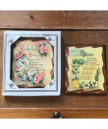 Vintage Lot of 2 Decoupaged Mini Wood Plaques with ROCKABYE BABY and THE... - $8.59