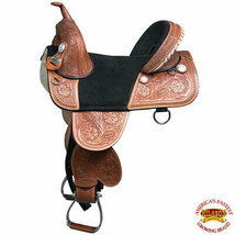 18 in Hilason Classic Treeless Western Trail Barrel Leather Horse Saddle... - $494.95