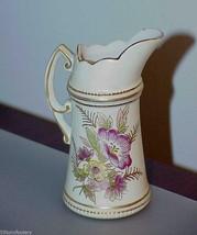 "Vintage Pitcher ruffled edge Gold Flowers Crossed Arrows 4.75"" Cream pot... - $19.79"
